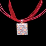 Scrabble Tile Necklace - Retro Squares Tile with Hot Pink Ribbon