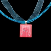 Scrabble Tile Necklace - Retro Pink Tile on Turquoise Ribbon
