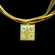 Scrabble Tile Necklace - Circles Tile on Yellow Ribbon