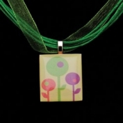 Scrabble Tile Necklace - Retro Pastel Flowers on Light Green Ribbon