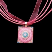 Scrabble Tile Necklace - Pink Sunburst Mandala on Light Pink Ribbon
