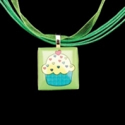 Scrabble Tile Necklace - Green Cupcake on Light Green Ribbon