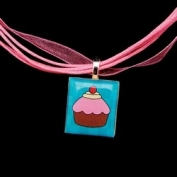 Scrabble Tile Necklace - Teal Cupcake on Light Pink Ribbon