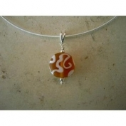 Frosted Scrollwork Pendant Necklace - Amber