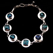 Sterling Silver Round-Square Bracelet with Toggle - Snake Skin
