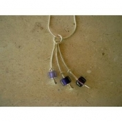 Curved Bar & Glass Bead Necklace - Purple