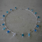Dangling Beads Necklace - Blue