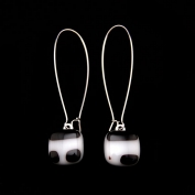 Glass Square Hanging Earrings - White and Black