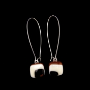 Glass Square Hanging Earrings - Black, Brown and White