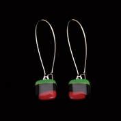 Glass Square Hanging Earrings - Green, Black and Burgundy