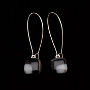 Glass Square Hanging Earrings - Black and Grey