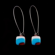 Glass Square Hanging Earrings - Turquoise and Burgundy