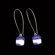 Glass Square Hanging Earrings - Dark Blue and Blue