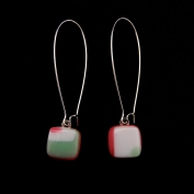 Glass Square Hanging Earrings - Mint and Rose
