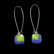 Glass Square Hanging Earrings - Lime and Blue