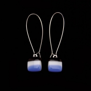 Glass Square Hanging Earrings - Blue and Black