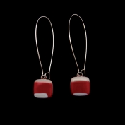 Glass Square Hanging Earrings - Burgundy, Cream and White