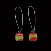 Glass Square Hanging Earrings - Burgundy and Lime
