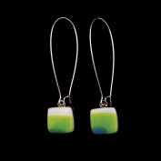 Glass Square Hanging Earrings - Lime and Turquoise