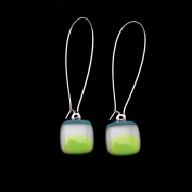 Glass Square Hanging Earrings - Teal and Lime
