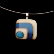 Glass Square Pendant Necklace - Teal and Grey