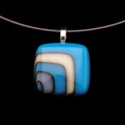 Glass Square Pendant Necklace - Turquoise and Black