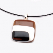 Glass Square Pendant Necklace - Black, Brown and White