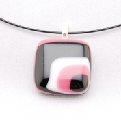 Glass Square Pendant Necklace - Black and Rose