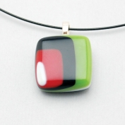 Glass Square Pendant Necklace - Green, Black and Burgundy