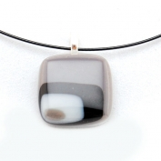 Glass Square Pendant Necklace - Black and Grey