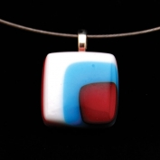 Glass Square Pendant Necklace - Turquoise and Burgundy