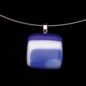 Glass Square Pendant Necklace - Dark Blue and Blue