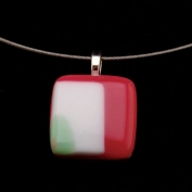 Glass Square Pendant Necklace - Mint and Rose