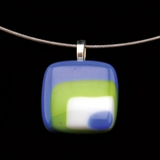 Glass Square Pendant Necklace - Lime and Blue