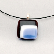 Glass Square Pendant Necklace - Blue and Black