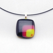 Glass Square Pendant Necklace - Burgundy and Lime
