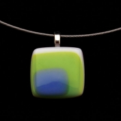 Glass Square Pendant Necklace - Lime and Turquoise