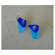 Double Glass Earrings - Cobalt Blue and Aqua