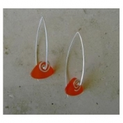 Glass Spiral Earrings - Orange
