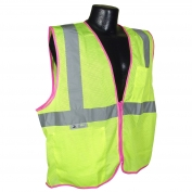 Full Source FS2ZPM Type R Class 2 Mesh Safety Vest with Zipper - Yellow/Lime with Pink Piping