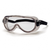 Pyramex Top Shelf Chemical Goggles - Gray Body with Neoprene Strap - Clear Anti-Fog Lens