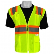 Global Glove GLO-003 FrogWear Type R Class 2 Solid Front Surveyor Safety Vest - Yellow/Lime