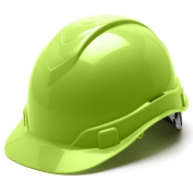 Pyramex HP44131 Ridgeline Hard Hat - 4-Point Ratchet Suspension - Hi-Viz Green