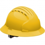 JSP Evolution 6161V Deluxe Full Brim Vented Hard Hat - Wheel Ratchet Suspension - Yellow
