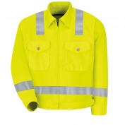 Red Kap JY32HV Men's Hi-Visibility Ike Jacket - ANSI Type R Class 2