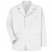 Red Kap KP10 Men's Lapel Counter Coat - White