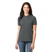 Port Authority L420 Ladies Pique Knit Polo - Steel Grey
