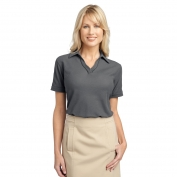 Port Authority L502 Ladies Silk Touch Piped Polo - Steel Grey/Black