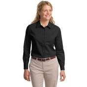 Port Authority L608 Ladies Long Sleeve Easy Care Shirt - Black/Light Stone