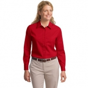 Port Authority L608 Ladies Long Sleeve Easy Care Shirt - Red/Light Stone